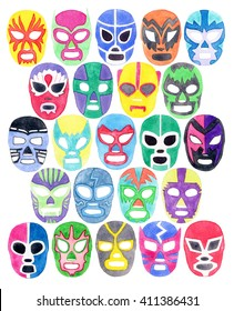 Luchador or fighter mask set. Hand-drawn lucha libre (free fighting) masks - colorful helmets on the white background. Real watercolor drawing.