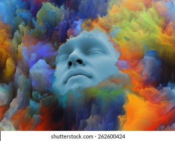 Lucid Dreaming series. Arrangement of human face and colorful fractal clouds on the subject of dreams, mind, spirituality, imagination and inner world