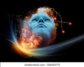 Lucid Dreaming series. Arrangement of human face and colorful fractal clouds on the subject of sleep, mind, spirituality, imagination and inner world