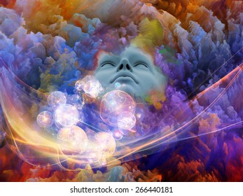 Lucid Dreaming series. Artistic background made of human face and colorful fractal clouds for use with projects on dreams, mind, spirituality, imagination and inner world