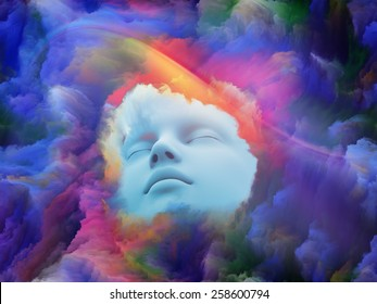 Lucid Dreaming series. Background design of human face and colorful fractal clouds on the subject of dreams, mind, spirituality, imagination and inner world