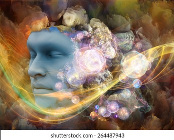 Lucid Dreaming series. Composition of human face and colorful fractal clouds with metaphorical relationship to dreams, mind, spirituality, imagination and inner world