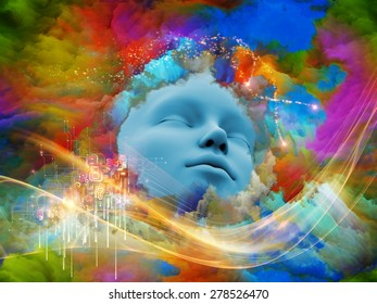 Lucid Dreaming series. Composition of human face and colorful fractal clouds suitable as a backdrop for the projects on dreams, mind, spirituality, imagination and inner world