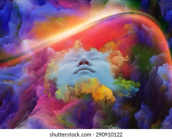 Lucid Dreaming series. Design composed of human face and colorful fractal clouds as a metaphor on the subject of dreams, mind, spirituality, imagination and inner world