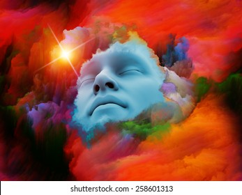Lucid Dreaming series. Interplay of human face and colorful fractal clouds on the subject of dreams, mind, spirituality, imagination and inner world