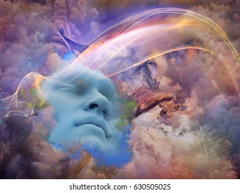 Lucid Vision series. Design composed of human face and colorful fractal clouds as a metaphor on the subject of dreams, mind, spirituality, imagination and inner world