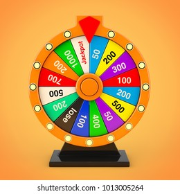 Luck and Fortune Concept. Spinning Colorful Fortune Wheel on a orange background. 3d Rendering