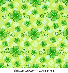 Lucky craver seamless pattern. St. Patrick's Day, festive background. Clover, pattern seamless for fabric and site