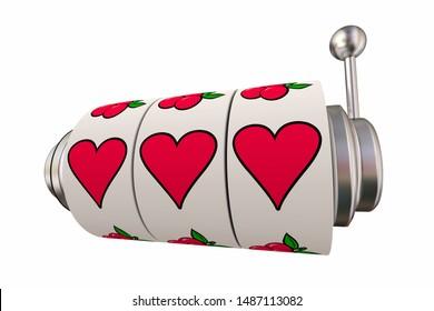 Lucky in Love Gambling on Romance Slot Machine Hearts 3d Illustration