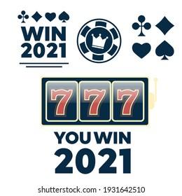 Lucky seven jackpot. Casino sign set. Poker club logo