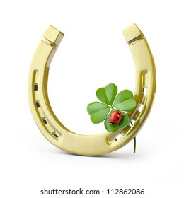 Lucky symbols : golden horseshoe, shamrock and ladybug