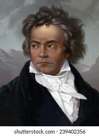 Ludwig van Beethoven (1770-1827). 1819 portrait by Ferdinand Schimon (1797-1852).