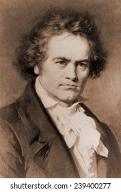 Ludwig van Beethoven (1770-1827) in portrait by Carl Jaeger.