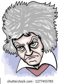 Ludwig van Beethoven cartoon.