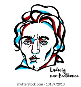 Ludwig van Beethoven engraved portrait with ink contours. German composer and pianist.