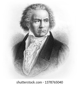 "Ludwig van Beethoven, German composer and pianist. Picture from Ch. Oeser's antique book ""Aesthetische Briefe"" (Esthetic Letters). Published by Friedrich Brandstetter, Leipzig (1874)"
