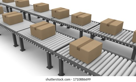 Luggage flowing on the belt conveyor. A large amount of cardboard. 3D rendering