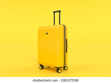 Luggage isolated on yellow background, tourism traveling concept, 3d rendering