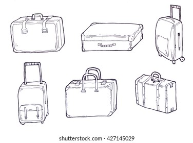 Luggage line art, isolated pictures of bags and suitcases