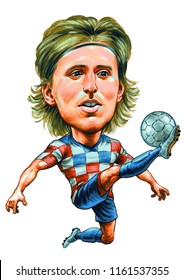 Luka Modric is a Croatian professional footballer who plays as a midfielder for Spanish club Real Madrid and is the captain of the Croatia national team. Illustration,Caricature,Design,August,22,2018