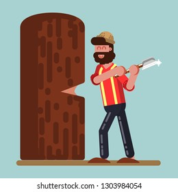 Lumberjack chopped down big tree.   illustration