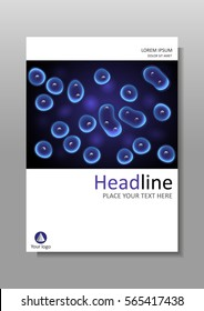 Luminescent cell culture effect nucleus. Book cover design black and blue background cells. Academic, medical, scientific journals, magazines, conferences, banners, flyers, reports. A4.