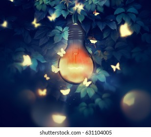 luminous bulb and butterflies flying on light