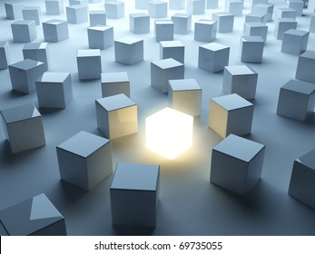 Luminous cube. Symbol of individualism