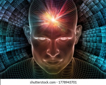 Luminous Dreams. Lucid Mind series. Artistic abstraction of 3D rendering of glowing wire mesh human face on the topic of artificial intelligence, human consciousness and spiritual AI