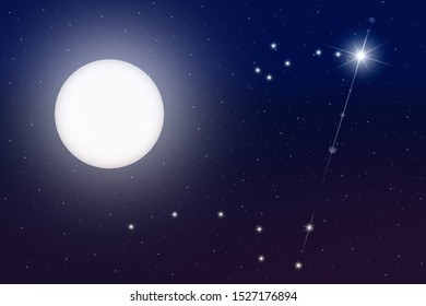 A luminous  full moon and a polar star with the constellation Ursa Minor in a clear dark blue sky with starry sky