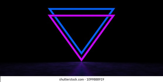 Luminous inverted pyramids of blue and purple. Glowing abstract symbols of blue and purple. 3D Render