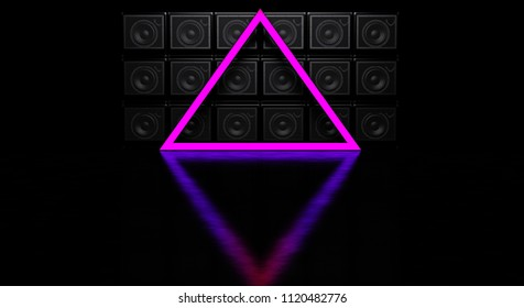 Luminous pyramid against the background of a wall of guitar amps. Wall from guitar amps. 3D Render