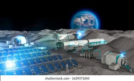 Lunar base, spatial outpost. First settlement on the moon. Space missions. Living modules for the conquest of space. 3d render. The earth seen from the moon