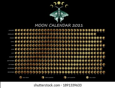 Lunar calendar 2021. Extendet vertion of Moon phases calendar for 2021 with beautiful lunar moth and golden moons.  For Northern hemisphere.