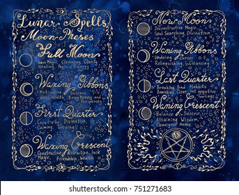 Lunar magic spells on blue textured background. Occult, esoteric, divination and wicca concept. Vintage background with moon phases and hand writing text on old pages
