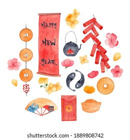 Lunar New year symbolic objects watercolor illustration. Decorative hand drawn elements. Coins, fishes, lucky money, firecrackers, cherry flowers and tea pots paintings. Colorful artworks. Asia theme.