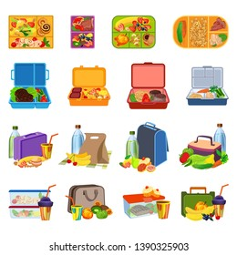 Lunchbox icons set. Cartoon set of lunchbox icons for web design