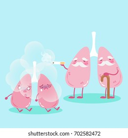 lung with smoke problem on the blue background