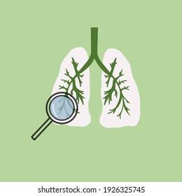 Lungs icons, flat style. Human internal organs design element, logo.