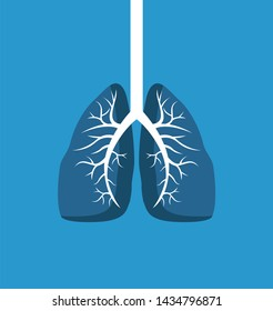 Lungs image banner isolated on blue background raster illustration of human organ with white windpipe organism s part colorful biologic poster