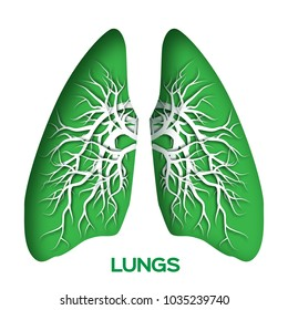 Lungs origami. Green Paper cut  Human Lungs anatomy with bronchial tree. Paper cut style. Origami