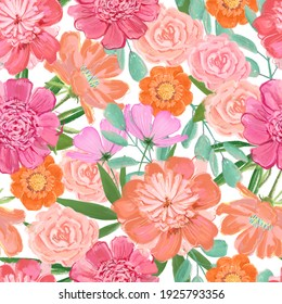 Lush blooming peonies and garden flowers, bright festive summer pattern