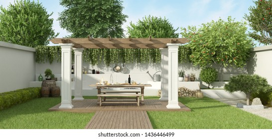 Lush garden with table set under a gazebo and barbecue on background - 3d rendering