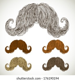 lush mustache groomed in several colors. easily editable detailed graphic design