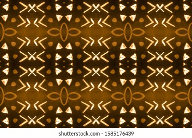 Luster Gold, Orange On Black. Bright Blended Color Paint. Abstract Navajo Stylized Backdrop. Watercolor Print Pattern. Geometric Design. Ties Colors.