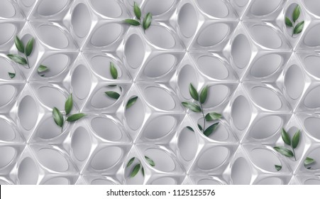 Lustrous body shape with perforated protuberances and depressions on grey background with leaves. High quality seamless texture.