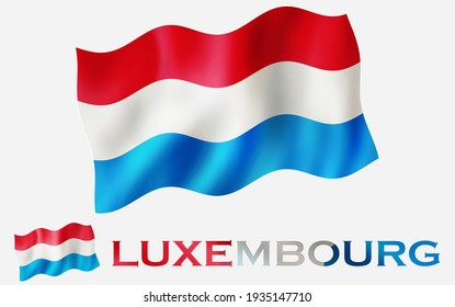 Luxembourg emblem flag icon with text for copy space. Luxembourg flag illustration with fabric texture with LUXEMBOURG text with White space
