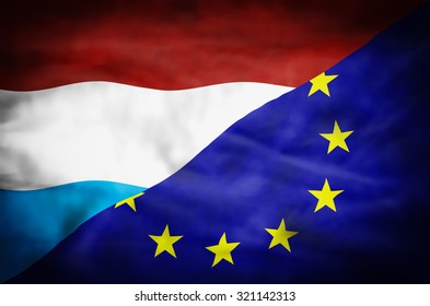 Luxembourg and European Union mixed flag. Wavy flag of Luxembourg and European Union fills the frame.