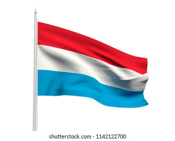 Luxembourg flag floating in the wind with a White sky background. 3D illustration.