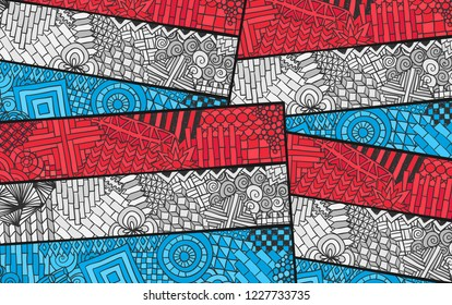 Luxembourg flag. Grand Duchy national symbol. Union Benelux. Country souvenir design. Zentangle ornament. Abstract flag for print design.